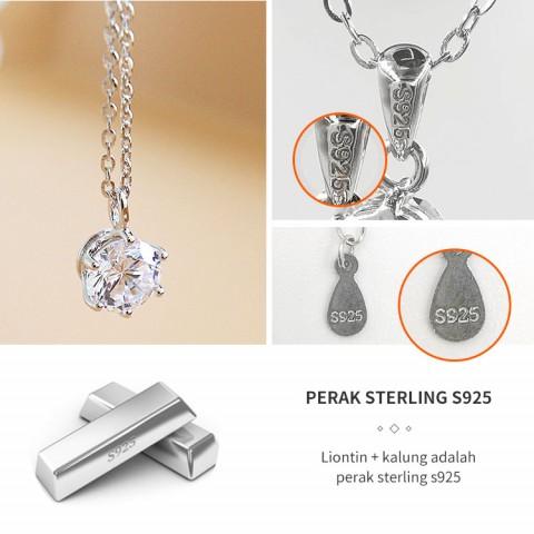 klasik baru sederhana S925 perak sterling kalung berlian