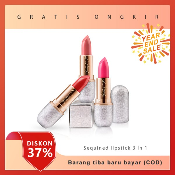 Satu set lipstick sequined, gratis blush on cair